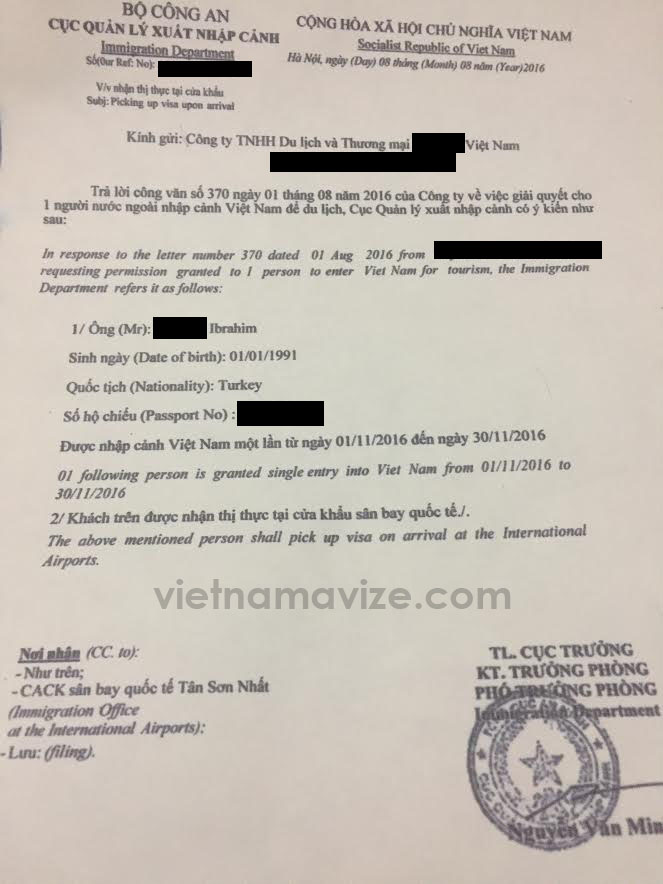 vietnam vize onay mektubu